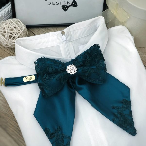 Luxusný dámsky motýlik petrolejovo zeleno – modrý
